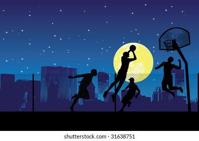 four basketball players, vector illustration
