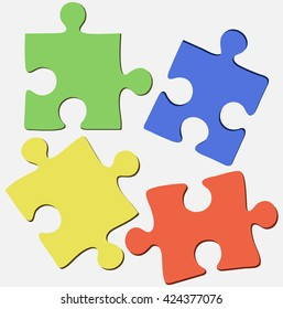 Four beautiful bright background of the puzzle on ivory