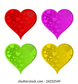 Four beautiful colorful Valentine harts