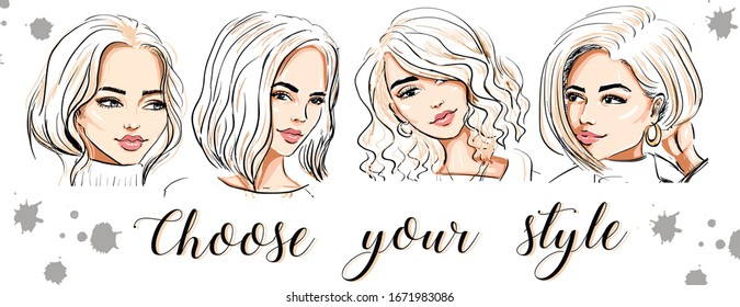 four beautiful hand drawn women faces. banner