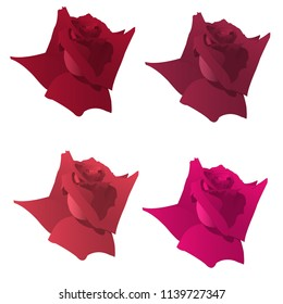 Four beautiful vector red roses