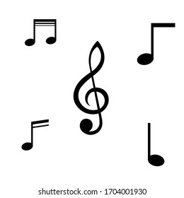 four Black color Music icon Collection vector design for banner