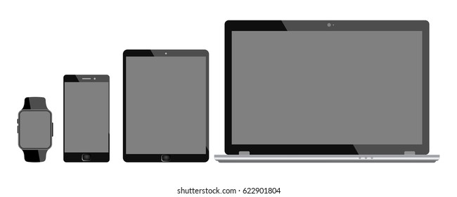 Four black communication devices. Devices with black display - for stock