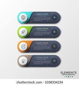 Four black rounded elements with letters, thin line icons and text boxes inside placed one below other. Concept of 4-stepped process planning. Infographic design template. Vector illustration.