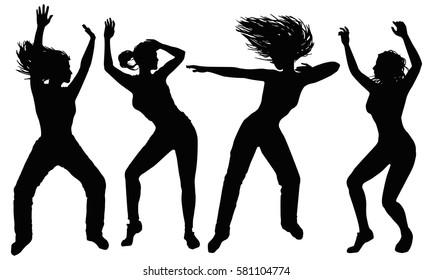 Four black silhouette dancing women.