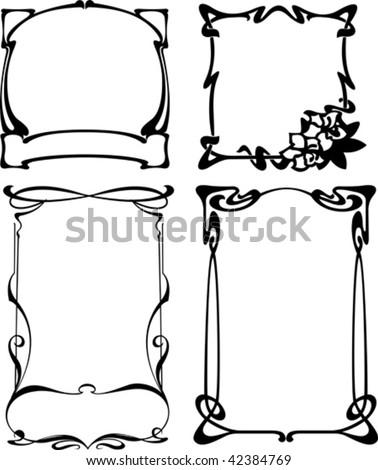 Four Black White Art Deco Frames Stock Vector (Royalty Free ...