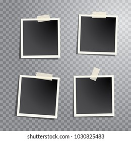 four blank instant photos isolated with transparent shadow, layered and editable vector illustration