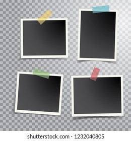 four blank photos isolated with transparent shadow, layered and editable vector illustration