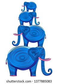 Four blue elephants that stand on top of each other. Elephants with tusks and a twisted trunk. The pyramid of elephants.