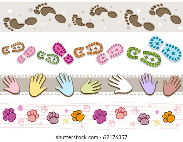 Four Border Designs Featuring Various Kinds of Prints - Vector