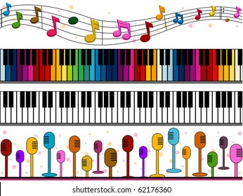Four Border Designs of Music-related Items - Vector
