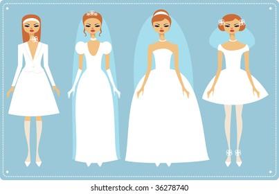 Four brides wearing fashionable wedding dresses