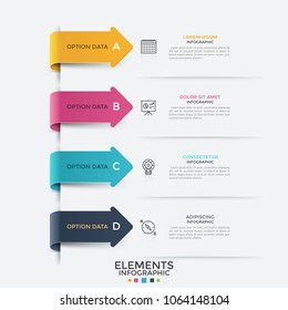 Four bright colored arrows pointing at linear pictograms and text boxes arranged into list. Concept of 4 successive steps of business development. Infographic design template. Vector illustration.