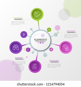 Four bright colored bubbles with thin line icons inside connected to main white round element. Concept of 4 features of startup project. Modern infographic design template. Vector illustration.