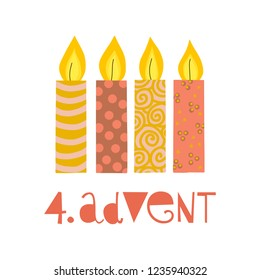 Four burning advent candles vector illustration. Fourth sunday in advent. 4. Advent german text. Flat Holiday design with candles on white background. For greeting Holiday card, poster, Christmas