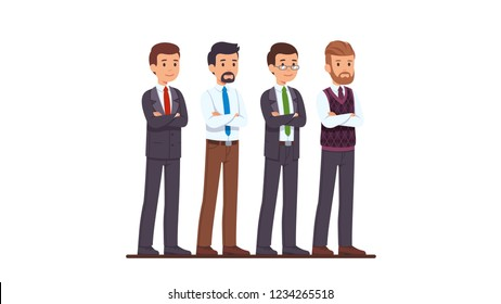 Four business man characters set. Businessman in buttoned and unbuttoned suit, white shirt and casual pants, woollen vest, posing with crossed hands. Flat style cartoon vector isolated illustration
