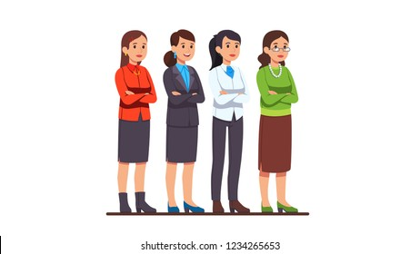 Four business women characters set. Businesswoman skirt, pants, read & white jacket, wearing glasses, posing with crossed hands. Flat style cartoon vector isolated illustration