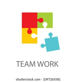 Four businessman connecting puzzle. Vector. Business teamwork concept.
