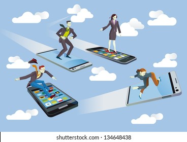 Four Businessmen and Businesswomen  flying or surfing on mobile phones sailing between clouds in a blue sky. They are enjoying the technology.