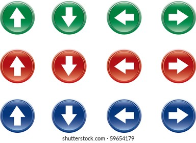 Four buttons of arrow over white background