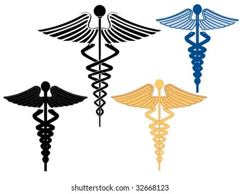 Four caduceus symbols
