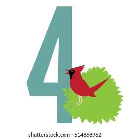 Four calling birds EPS 10 vector.