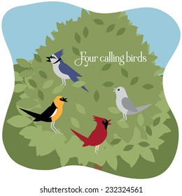Four calling birds Twelve Days of Christmas EPS 10 vector illustration