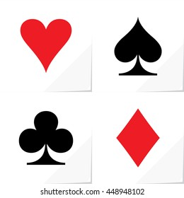 Four Card Suits Hearts Spade Clubs Diamonds - Black and Red Game Symbols on White Natural Paper Effect Background - Graphic Silhouette Style