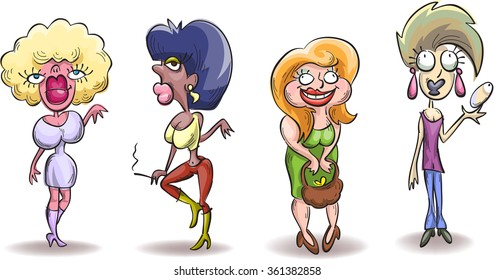 Four caricature ugly woman, simple sketch vector, isolated on white