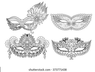 Four carnival mask designs for coloring book for adult or element for design