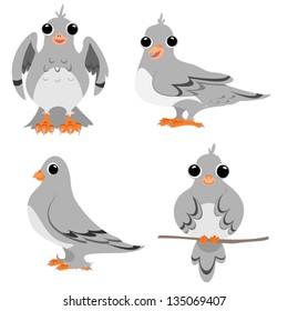 Four cartoon drawings of pigeons