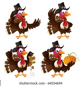 Four cartoon turkeys in a pilgrim outfit. The file is layered for easier editing. Perfect match for the thanksgiving series.