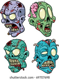 Four cartoon zombie heads. All in separate layers for easy editing.