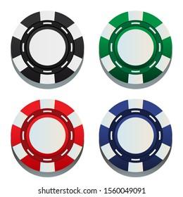 Four Casino Gaming Chips for Gambling.