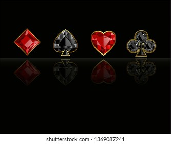 Four casino signs. Hearts, diamonds, clubs and spades on black backgroung with reflection. Vector illustration.