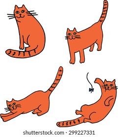 Four cats set. Hand drawn illustration.