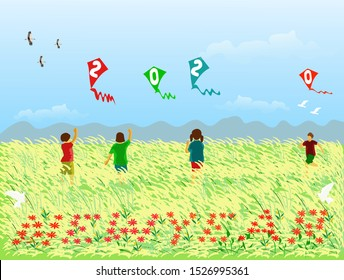 Four children are playing a kite with a 2020 figure in a field of reeds,Red flowers arranged in letters new year,There are mountains and the blue sky background.