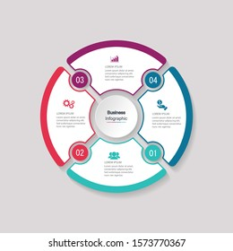 four circle elements with paper icons and place for text to circle white paper. The concept of 4 business development features. Infographic design template. Vector illustration.