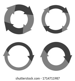 Four circles with arrows in black and gray. The idea of a circular motion with a variegated design. Arrows with a unique design and idea. Vector graphics. Stock Photo.