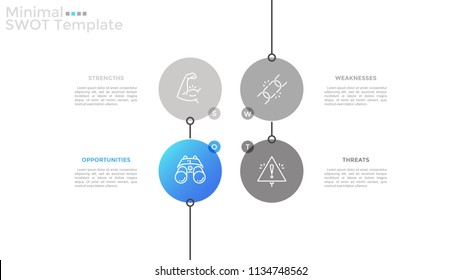 Four circular elements with thin line icons inside and place for text. SWOT analysis, threats, weaknesses, strengths and opportunities of company. Infographic design template. Vector illustration.