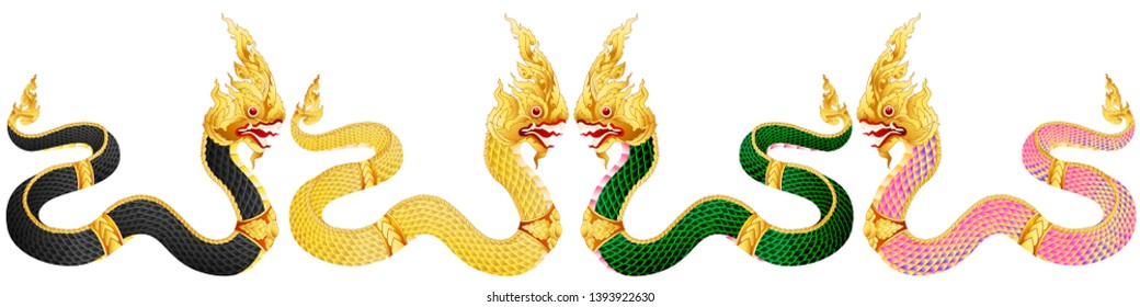 Four clans of the King Naga. Big snake thai art graphic vector