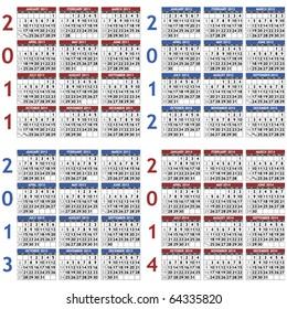 Four classic calendar templates for years 2011 - 2014, easy editable, weeks start on Sunday