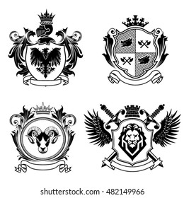 Four coat of arms.Collection of four coat of arms. The first top left is a shield with an eagle on it and above his knights helmet with crown and a wreath of leaves for decoration of both side.