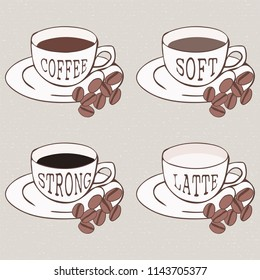 four coffee mugs with words Coffee, Soft, Strong and Latte, with some coffee grains
