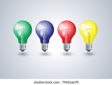 Four color bulbs red blue green yellow