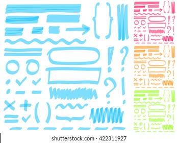Four color highlighter marker's set. Hand drawing elements for select and edit text.