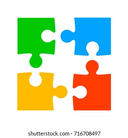 Four color puzzle - stock vector