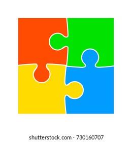 Four color puzzle - vector