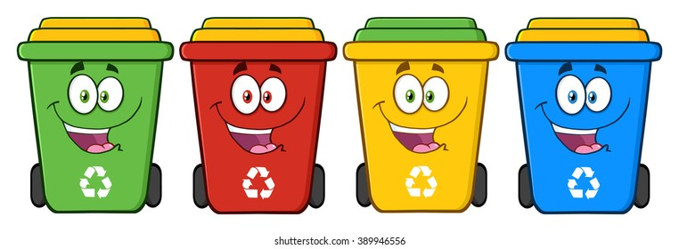 Four Color Recycle Bins Cartoon Character. Vector Illustration Isolated On White Background
