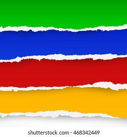 Four color torn paper sheets. Vector illustration
